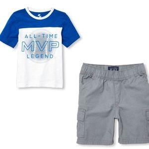 CHILDREN'S PLACE Baseball Shirt and Gray Shorts